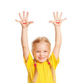 . Kid raising hands up. Isolated on white — Stock Photo