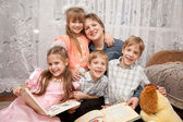 Four children hugging mother. Family concept. — Stock Photo