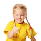 Słodkie dziecko wyświetlono kciuk w. — Zdjęcie stockowe