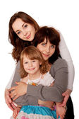 Happy mother and two daughters, teenager and toddler. — Foto Stock