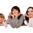 Happy mother and two daughters, teenager and toddler. — Stock Photo #23154752