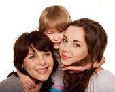 Szczęśliwa rodzina, matka i dwie córki — Zdjęcie stockowe