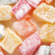 Turkish colorful delight. Macro. Food background — Stock Photo