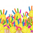 Back to school! Colorful raised hands — Stock Photo