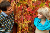 Young couple in love in autumn forest. — Stock Photo