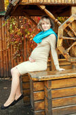 Pregnant woman posing in an old wooden well — Stock Photo