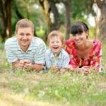 Happy family outdoors. Summer holiday. — Stock Photo
