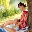 Stock Photo: Happy middle-aged couple relaxing
