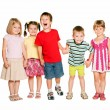 Стоковое фото: Group of little children holding hands and smiling.
