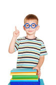 Young student pointing finger upward — Stock Photo