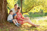 Father, mother and son in the park. Summer holiday. — Stock Photo