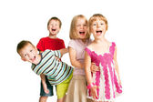 Group of children having fun, playing, screaming. — Stock Photo