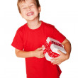 Happy little boy with a gift. — Stock Photo