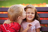 Love concept. Couple of kids loving each other — Stock Photo