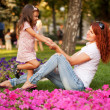 Lovely happy mother and daughter playing — Stock Photo