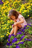 Little girl among the flowers — Stock Photo
