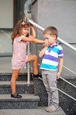 Little boy kissing the little girl's hand. — Foto de Stock