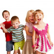 Stock Photo: Group of little children playing and screaming
