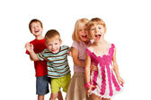 Group of little children playing and screaming — Stock Photo