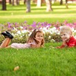 Kids love concept. Little couple in love outdoor — Foto Stock
