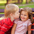 Little couple in love outdoor — Stock Photo #32064849