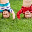 Happy kids standing upside down on grass. — Stock Photo #32455357