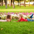 Love concept. .Couple of children outdoor — Stockfoto