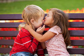 Love concept. Couple of kids kissing. — Stock Photo