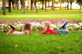 Love concept. .Couple of children outdoor — Stock Photo