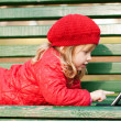 Stock Photo: Happy little girl with tablet pc