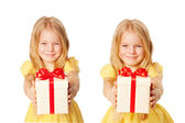 Happy children with gifts. Holiday and Christmas concept. — Stock Photo
