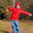 Happy smiling little girl in the autumn forest.  — Stock Photo