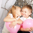 Little couple of kids hugging, kissing — Stock Photo