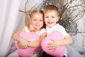 Little boy and girl in love. — Stock Photo