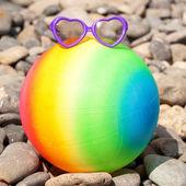 Summer holidays concept. Rainbow colorful beach ball — Photo