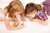 Small childrenl drawing heart. Love concept. — Stock Photo