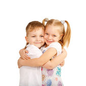 Couple of kids loving each other — Stock Photo