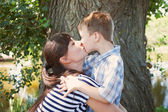 Mother and son kissing outdoor.  — Foto Stock