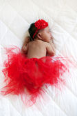 Baby ballerina. Black newborn sleeping  — Стоковое фото