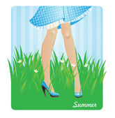 Girl's legs in summer grass — Stock Vector
