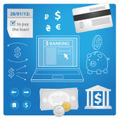 Internet banking vector set — Stock Vector