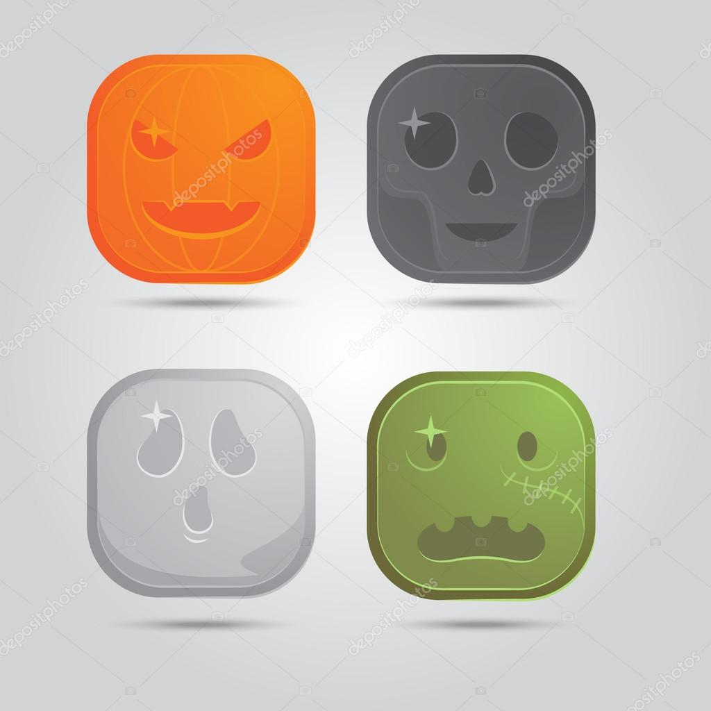 Four vector icons: pumpkin, skull, ghost, zombie — Stock Vector #13144411