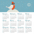 Vector calendar 2013 with funny bullfinch — Stock Vector
