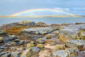 Ireland countryside rainbow — Stock Photo