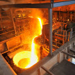 Foundry - molten metal poured — Stock Photo