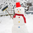 Snowman on snowy garden — Stock Photo