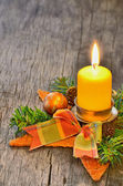 Candle and Christmas — Stock Photo