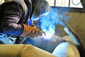 Welding with mig-mag method — Stock Photo