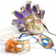Three Venetian masks for a party — Stock Photo
