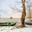 Green boat on shore in winter — Stock Photo